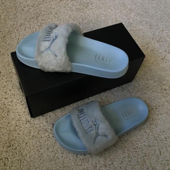 online store 35db0 6b01f FENTY x PUMA by Rihanna Fur Slides Baby Blue